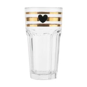 Gold Stripes üveg pohár, 16 cm - Miss Étoile
