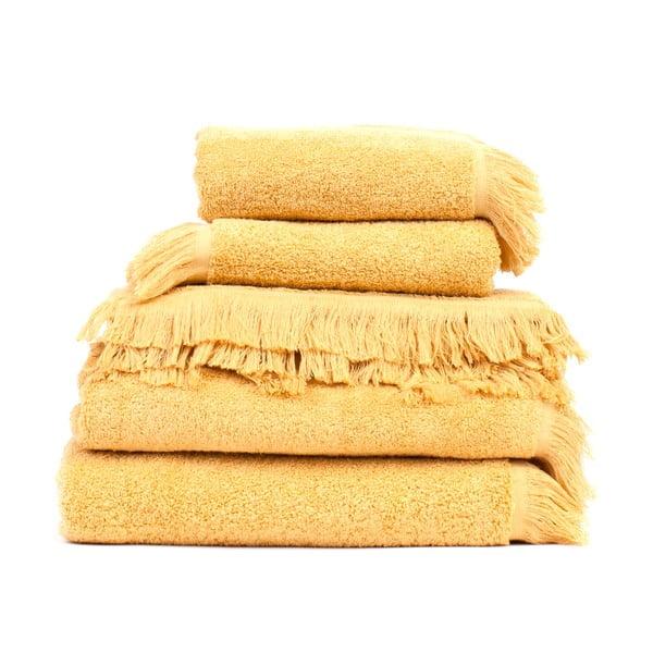 Sun 2 db sárga pamut fürdőlepedő és 6 db törölköző szett - Casa Di Bassi