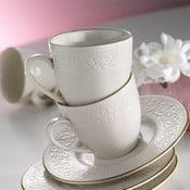 Simple White porcelán csésze és csészealj, 6 darabos készlet, 80 ml