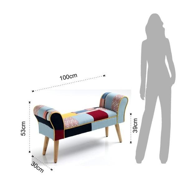 Kaleidos színes ülőpad tölgyfa lábakkal - Tomasucci