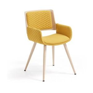 Andre mustársárga szék fa lábakkal - La Forma