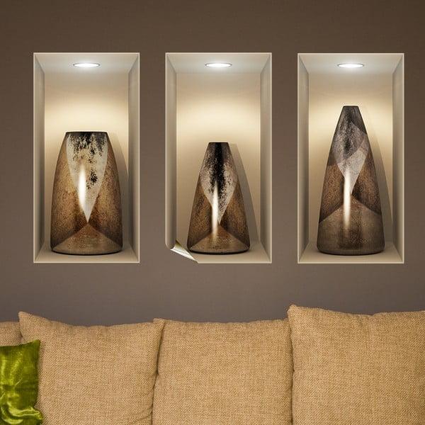 Wooden Vases 3D hatású 3 db-os falmatrica szett - Ambiance