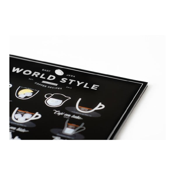World Style Coffee fekete poszter, 21 x 30 cm - Follygraph