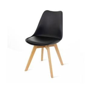 Retro fekete szék, bükkfa lábakkal - loomi.design