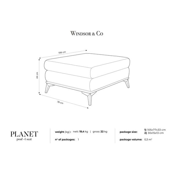 Planet bézs puff - Windsor & Co Sofas