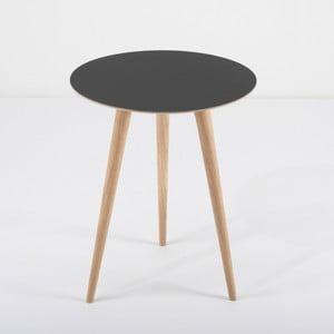 Arp tölgyfa kisasztal fekete asztallappal, Ø 45 cm - Gazzda
