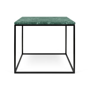 Gleam zöld márvány dohányzóasztal fekete lábakkal, 50 x 50 cm - TemaHome