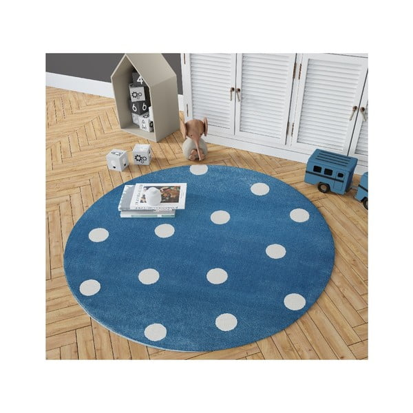 Stars kék, kerek szőnyeg csillag mintával, 133 x 133 cm - KICOTI