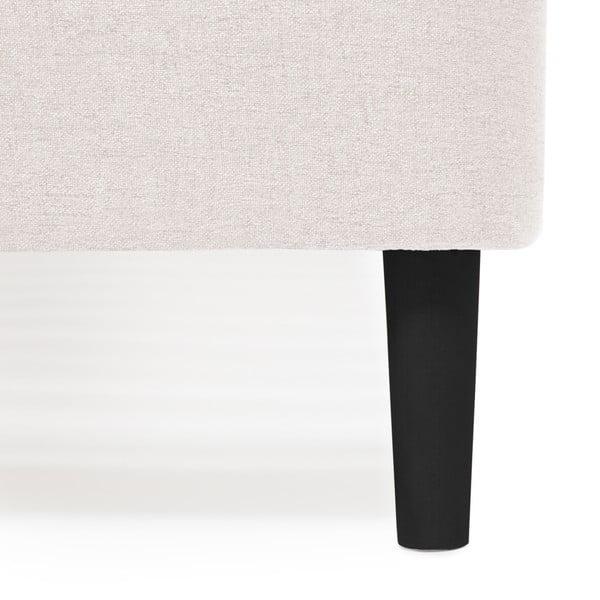 Mae Queen Size világosszürke kétszemélyes ágy fekete lábakkal, 160 x 200 cm - Vivonita