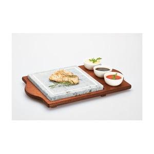Stone Plate tálaló kőlappal és tálikákkal, 48 x 30 cm - Bisetti