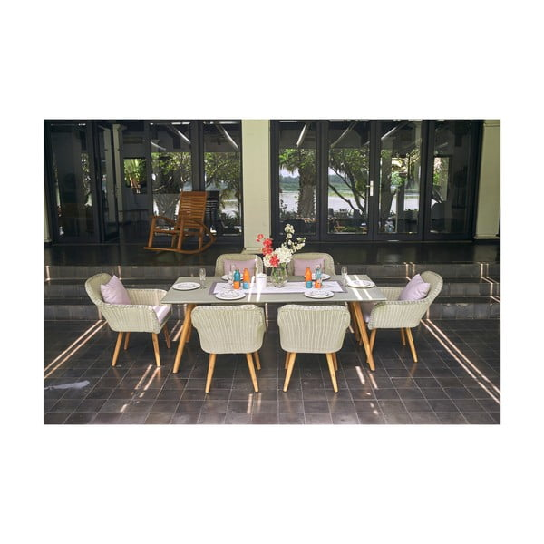 Clipper szürke kerti étkezőasztal, 6 személy - Ezeis