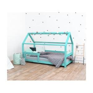 Tyrkysová dětská postel s bočnicí ze smrkového dřeva Benlemi Tery, 120 x 180 cm