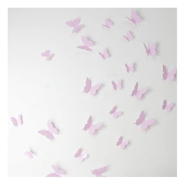 Butterflies rózsaszín 3D hatású 12 db-os falmatrica szett - Ambiance