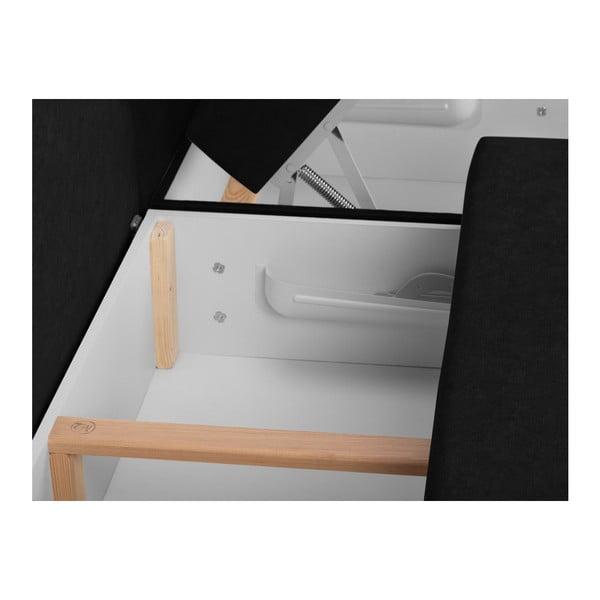 Louise fekete háromszemélyes kinyitható sarokkanapé ágyneműtartóval - Melart