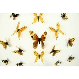 Butterflies sárga 3D hatású 18 db-os falmatrica szett - Ambiance