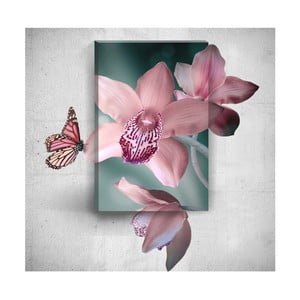 Pink Butterfly With Flowers 3D fali kép, 40 x 60 cm - Mosticx