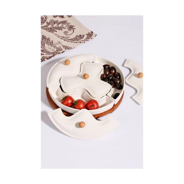 Kosova Ina porcelán tálka fedővel és bambusz tartóval, 4 darabos készlet