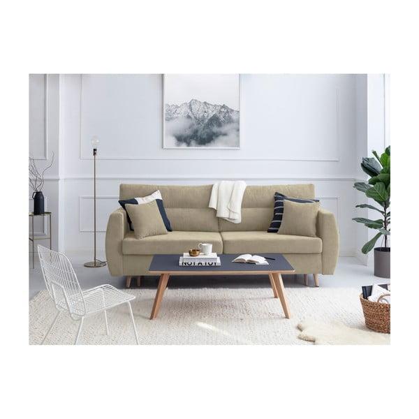 Sydney háromszemélyes bézs kinyitható kanapé tárolóval, 231 x 98 x 95 cm - Cosmopolitan design