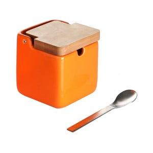Spoon Wood narancssárga cukortartó kanállal - Versa