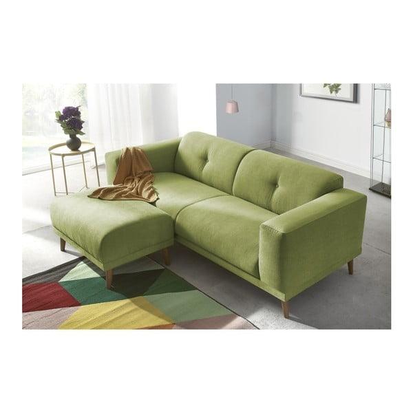 Luna zöld háromszemélyes kanapé, lábtartóval - Bobochic Paris