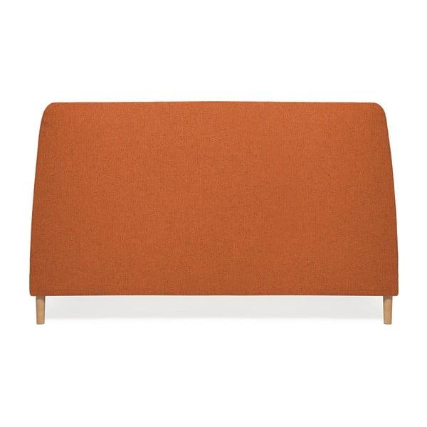 Mae kétszemélyes narancssárga ágy fa lábakkal, 140 x 200 cm - Vivonita