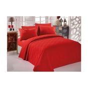 Single Pique Rojo piros pamut ágytakaró kétszemélyes ágyra, 200 x 234 cm