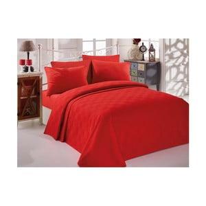 Single Pique Rojo kétszemélyes piros pamut ágytakaró, 200 x 234 cm