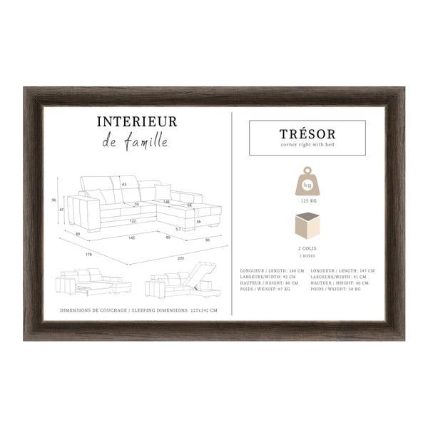 Tresor világosszürke kinyitható jobb oldali kanapé - Interieur De Famille Paris