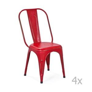 Aix piros fém étkezőszék, 4 részes - Interlink