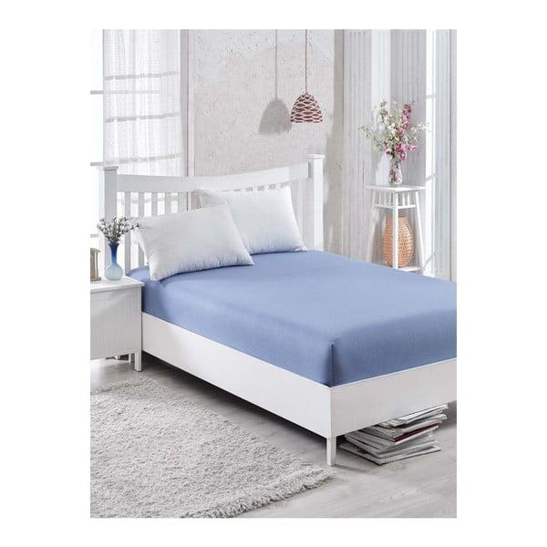 Barbra elasztikus, kék, egyszemélyes ágynemű szett, 100 x 200 cm