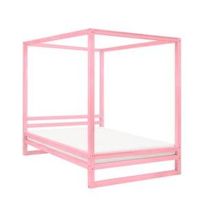 Růžová dřevěná dvoulůžková postel Benlemi Baldee, 190x180cm