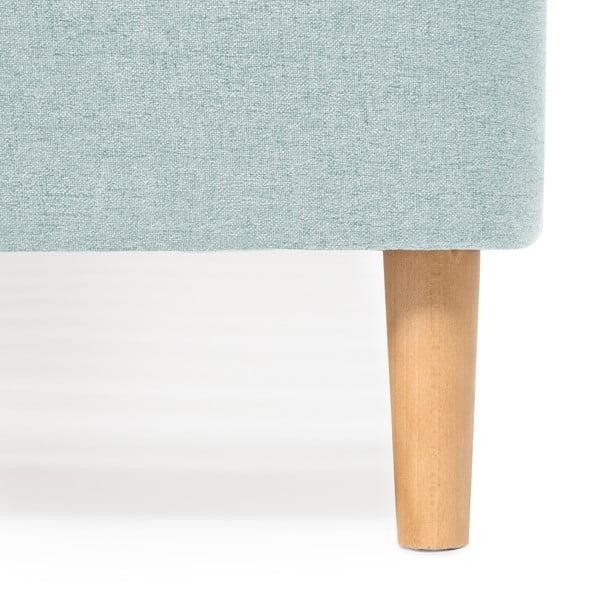 Mae Queen Size türkizkék kétszemélyes ágy fa lábakkal, 160 x 200 cm - Vivonita