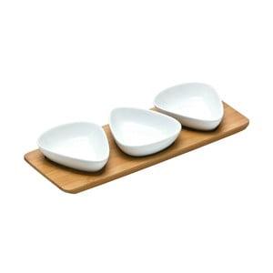 Trio Snacks 3 db porcelán tálka bambusz tálcán - Premier Housewares