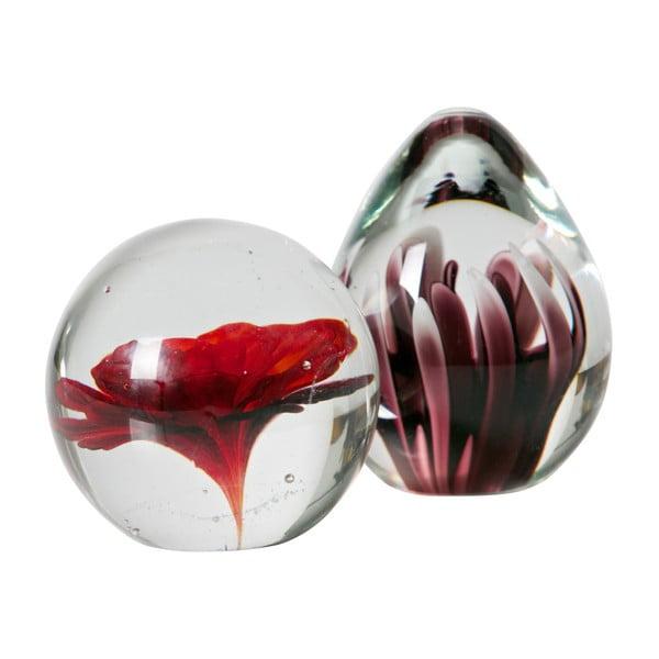 Botanics üveg papírnehezék piros virággal - BePureHome