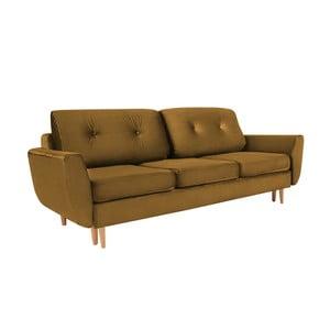 Silva mustársárga háromszemélyes kihúzható kanapé tárolóval - Mazzini Sofas