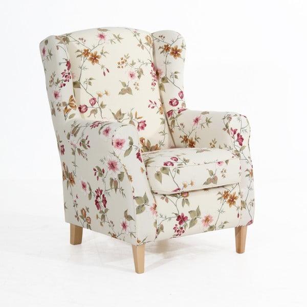 Lorris fehér virágmintás füles fotel - Max Winzer
