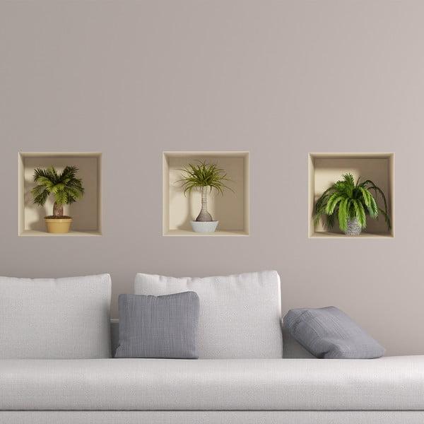 Palms 3D hatású 3 darabos falmatrica szett - Ambiance