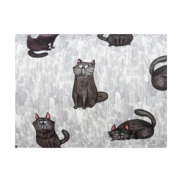 Grey szürke díszpárna cica motívummal, 15 x 40 cm - KICOTI