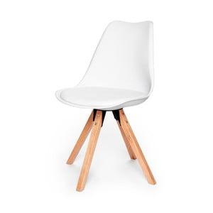 Bílá židle s podnožím z bukového dřeva loomi.design Eco
