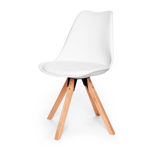 Eco fehér szék, bükkfa lábakkal - loomi.design