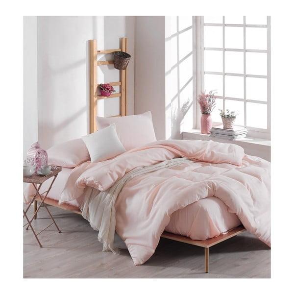 Basso Merun kétszemélyes halvány rózsaszín ágyneműhuzat-garnitúra lepedővel, 200 x 220 cm