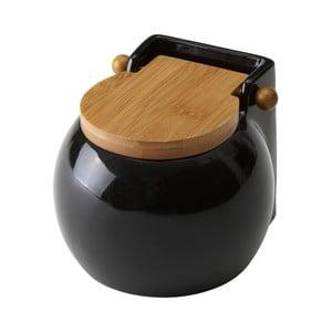 Ceramic fekete fedeles sótartó, 700 ml - Unimasa
