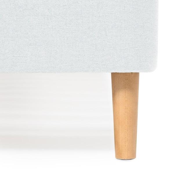 Mae Queen Size kétszemélyes világoskék ágy fa lábakkal, 160 x 200 cm - Vivonita