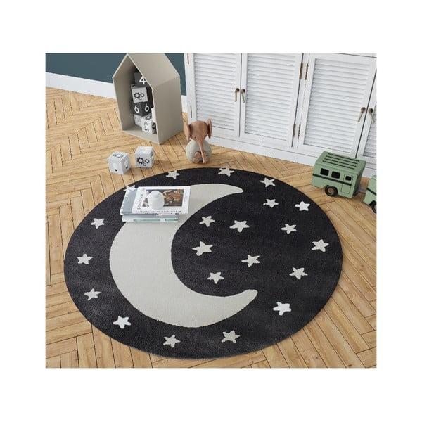 Granite fekete, kerek szőnyeg holdmintával, ø 100 cm - KICOTI