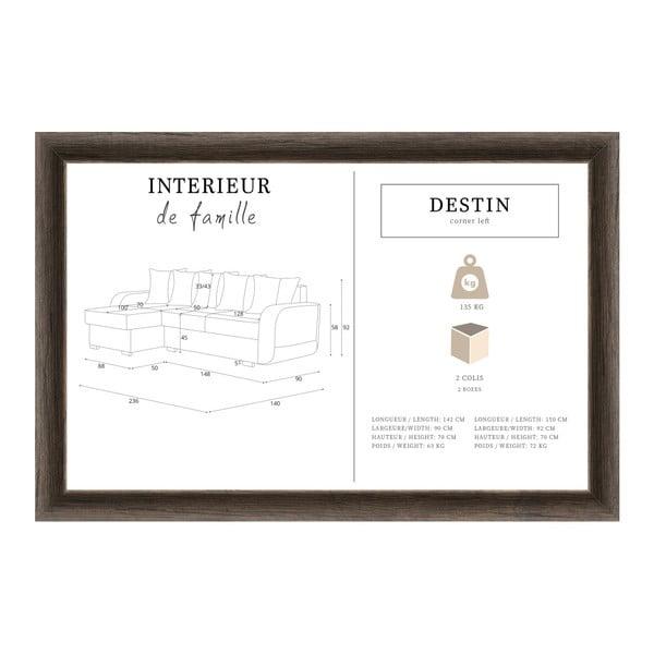 Destin fekete-szürke kanapé, bal oldalas - Interieur De Famille Paris