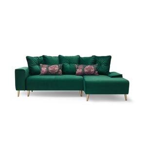 Hera zöld négyszemélyes kinyitható kanapé, jobb oldali - Bobochic Paris