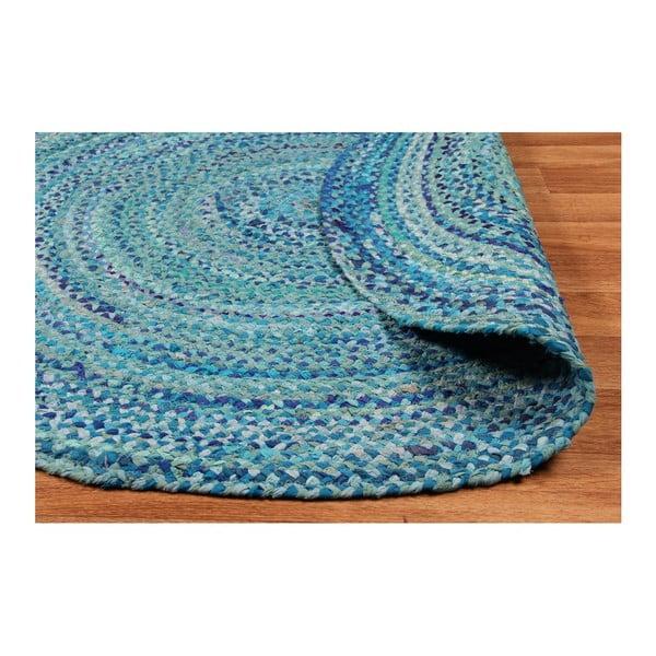 Kék, kerek pamutszőnyeg, Ø 150 cm - Eco Rugs