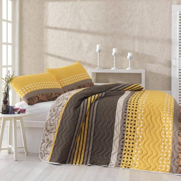 Miranda Yellow szteppelt könnyű ágytakaró párnahuzattal, 200 x 220 cm