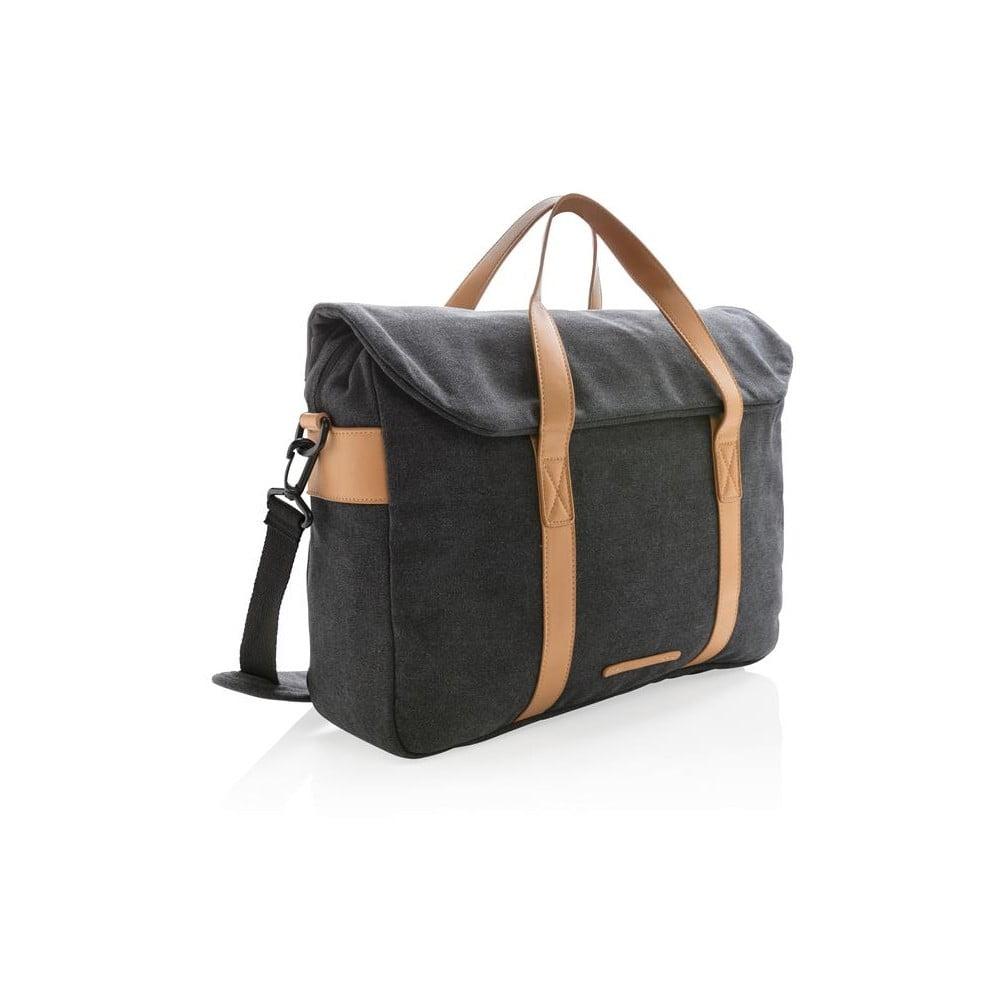 ca737daab9e5 Fekete vászon táska 15,6