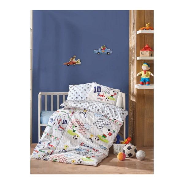 Football pamut gyermek ágyneműhuzat-garnitúra lepedővel, 100 x 150 cm
